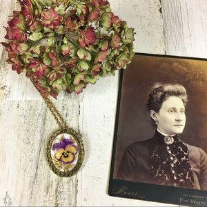 Vintage Purple & Gold Pansy Necklace